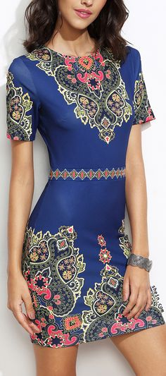 Blue vintage ornate print sheath dress.