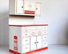 Vintage Kitchen Toy Tin Hoosier Cabinet Wolverine 1950s Hutch Red White, via Etsy.