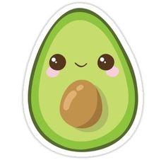 Cutest Avocado Ever Sticker - Products - Avocado Cute Food Drawings, Cute Animal Drawings Kawaii, Cute Little Drawings, Cute Cartoon Drawings, Griffonnages Kawaii, Arte Do Kawaii, Stickers Kawaii, Cool Stickers, Printable Stickers