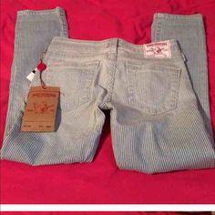 True religions chop pants Brand new never worn striped true religions True Religion Jeans