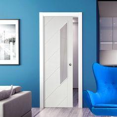 Single Pocket Monza Primed Door with Obscure Safe Glass. #monazapocketdoor #contemporarypocketdoor #whiteslidingdoor