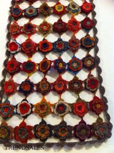 20 x 140 - Blå, røde og brune nuancer Afghan Scarf, Love Crochet, Crochet Necklace, Knitting, Sewing, Stitching, How To Make, Collection, Fashion