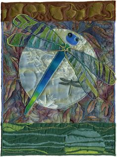 Dragonfly with translucent wings; mini quilt by Didi Salvatierra for AAQI.  Posted by Naomi S. Adams | Killer Bee Designs.