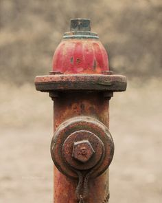 Red Antique Fire Hydrant Photo, grey, beige, rustic, rural, weathered, rusty, whimsical art, rust. $25.00, via Etsy.