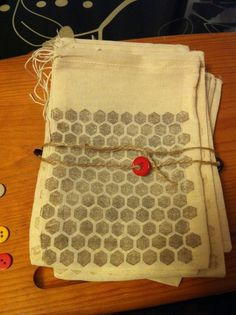 1 Stamped Muslin Drawstring Pouches Honeycomb Bee by BeckyCharms, $1.45