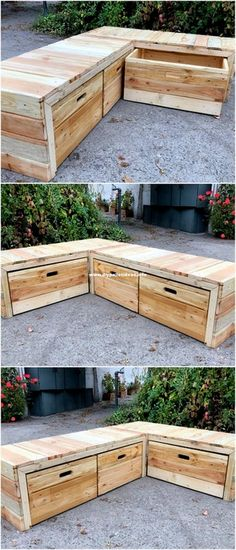 Pallet Wood Plans For House beautiful wooden bench in the outdoor with large storage - Type Of Kitchen Storage Wooden Storage Bench, Crate Storage, Outdoor Storage, Pallet Storage, Pallet Shelves, Kitchen Storage, Diy Outdoor Furniture, Diy Furniture, Furniture Storage