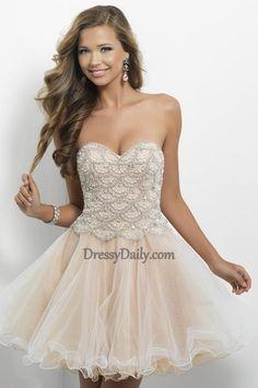 Empire Sweetheart Tull and Beading Short Prom Dress