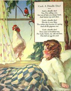 Cock A Doodle Doo Farm Nursery Rhyme - Original 1930 Childrens Nursery Illustration. INR via Etsy.