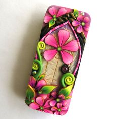 Fairy Door Slide Top Tin Sewing Needle Case  Polymer by Claybykim