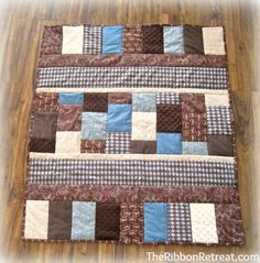 Vintage-inspired baby quilt - blues and browns; rectangles and strips