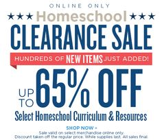 Homeschool Clearance Sale - Up to 65% OFF Select Homeschool Curriculum and Resources