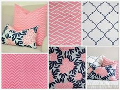 Pastel pink and navy