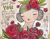 dear sweet girl - art about beauty 8 x 8 inches - archival - limited edition - by cori dantini