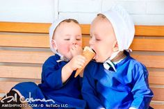 Photo by Bill Coleman.~These little Amish girls are really enjoying this icecream cone~ Sarah's Country Kitchen ~