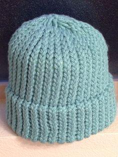 Seafoam Green Loom Knit Hat, Adult Size. $15
