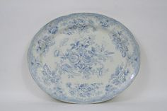 """Blue and white transfer platter.  Asian pheasant pattern.  English. CIRCA: Late 19th Century DIMENSIONS: 12.75"""" h x 16"""" w PRICE: $375"""