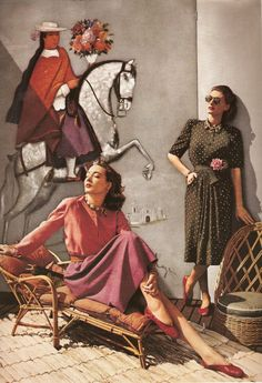 1940's and they're wearing non-rationed capezios (ala vreeland). a layout from harper's bazaar?