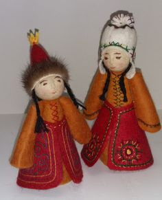 Pair of Traditional Kyrgyz girl dolls by AizadaImports on Etsy