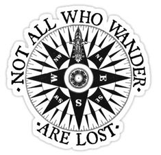 'Not All Who Wander Are Lost, Adventure Travel Gifts' Sticker by madeulaugh Camping In The Woods, Travel Drawing, Travel Party, Compass Rose, Travel Shirts, Compass Tattoo, Adventure Travel, Adventure Time, Adventure Gifts