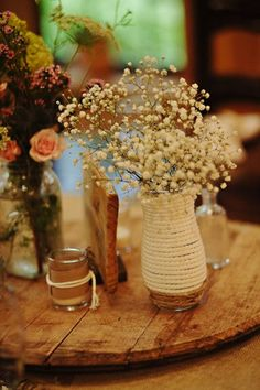 Dried  Baby's Breath in this rustic look centerpiece