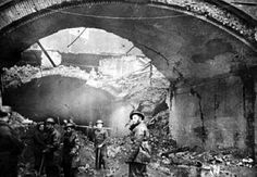 Aftermath of the Stainer Street bombing. Stainer Street runs through a long tunnel beneath London Bridge Station. During WWII, this cavernous area was employed as an air raid shelter. Tragically, on the evening of 17th February 1941,  the long arch suffered a direct hit, killing 68 people and injuring a further 178. Many of the casualties were medical staff from nearby Guys Hospital, who had rushed to the scene to help, only to be struck by a second explosion.