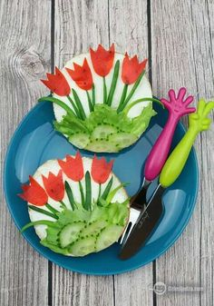Veggie flower salad fun healthy food for kids Creative art idea Simple Easy Inexpensive Vegetarian  ++ Ensalada vegetales en forma de flores comida artistica divertida barata facil sencilla sana saludable para fiesta celebraciones niños fiesta cena primavera  verano refrescnte
