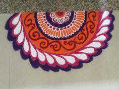 beautiful corner rangoli designs for diwali | HappyShappy - India's Best Ideas, Products & Horoscopes New Rangoli Designs, Beautiful Rangoli Designs, Rangoli With Dots, Simple Rangoli, Corner Rangoli, Rangoli Photos, Diwali Rangoli, Simple Designs, Projects To Try