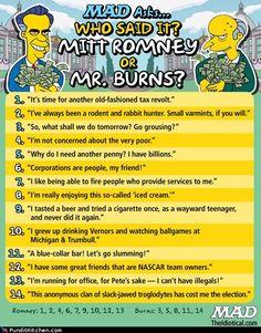 If I had to choose between Mitt Romney or Mr. Burns for president, I'd choose Mr. Burns.