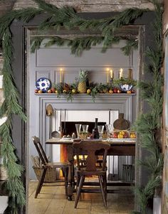 love the hospitality pineapple on the mantel.