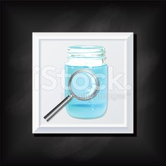 Black Chalkboard Background With a Square Icon With Water royalty-free stock vector art