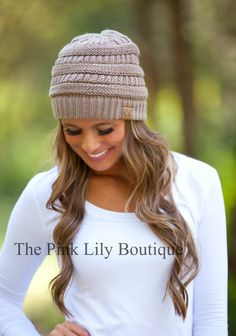 The Pink Lily Boutique - Taupe Knit Beanie, $15.00 (http://thepinklilyboutique.com/taupe-knit-beanie/)