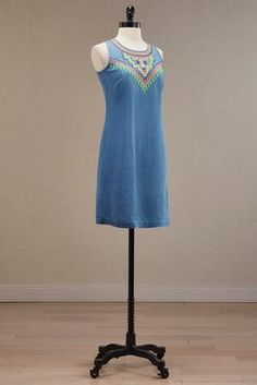 Versona embroidered chambray shift dress #Versona