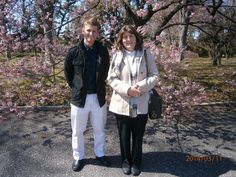 Tokyo Japan, cherry blossom garden with my young 50 year old mother.