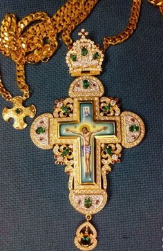 Gold Plated Pectoral Cross Engolpion Enamel Christian Zircon Clergy Bishop