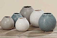TESSA Vase décoratif Grès H12cm d13cm de H16cm D17cm, Pierre, Multicolore, 3101500 weiss
