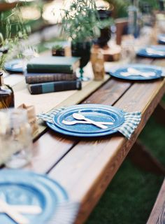 camp inspired reception table - photo by Sposto Photography http://ruffledblog.com/redwoods-forest-wedding-at-fern-river