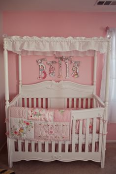 Bella's Shabby Chic Vintage Pink and Gray Nursery canopy crib pink and grey