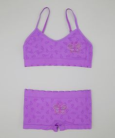 Take a look at this Inteco Purple Rhinestone Butterfly Sports Bra & Undershorts - Girls on zulily today!
