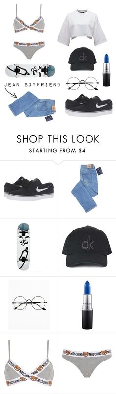 """Skater girl 3"" by leoni-benard ❤ liked on Polyvore featuring NIKE, Topshop, Chicnova Fashion, MAC Cosmetics, Moschino, mac, puma and nike"