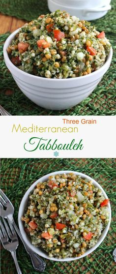 Mediterranean Tabbouleh is fresh and filling and a very easy recipe. A little preparation then things are just tossed together. Great salad & side dish. ~ http://veganinthefreezer.com