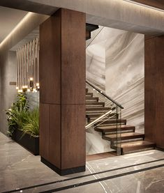 Home Stairs Design, Home Room Design, Dream Home Design, Luxury Staircase, Modern Staircase, Modern Exterior House Designs, Modern Bedroom Design, Minimal House Design, Lobby Design