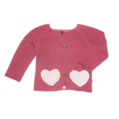 Cardigan with with wooden buttons and contrast heart-shaped pockets.    100% Baby AlpacaOur knits are made in Bolivia by a self-managed community of indigenous women. In line with fair trade principles, our artisans are paid a living wage, which enables them to afford healthcare and education for their children. This product is made from soft, luxurious baby alpaca wool which is hypoallergenic and eco-friendly.
