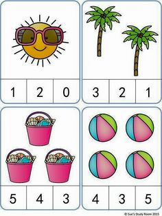 Summer Count and Clip Cards: numbers Kindergarten Math Worksheets, Preschool Learning Activities, Preschool Printables, Preschool Activities, Kids Learning, Kindergarten Reading, Numbers Preschool, Math For Kids, Math Centers