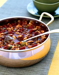 Chicken and White Bean Chili from Epicurious.com #myplate #protein