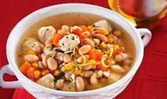Receita de Sopa de peito de frango e feijão-branco - Sopa e caldo - Dificuldade…