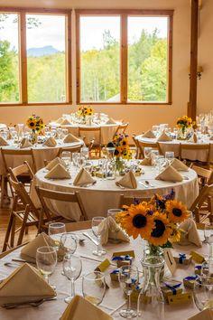 Wedding reception sunflower table setting at Sleepy Hollow Inn, Ski & Bike Center - Huntington, VT - Vermont barn wedding - Vermont Wedding Dreams Fulfilled Here! - Photo credit: Christian Arthur