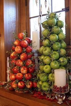 Love these fruit topiaries! Great Centerpiece idea for the holidays or a holiday gift!