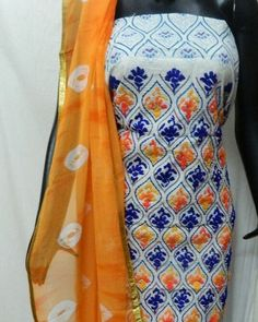 Hand Embroidery suit 1700/- Top- cotton with full embroidery work Bottom- cotton Back- printed  Dupatta- chiffon with all over lace Whatsapp (9929033908)