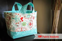 """Fabric Basket Tutorial (The finished size is, 6 1/5"""" wide by 8"""" high by 10"""" long)."""