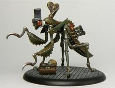 Clockwork Mantis. With a hat. And a bag. #steampunk